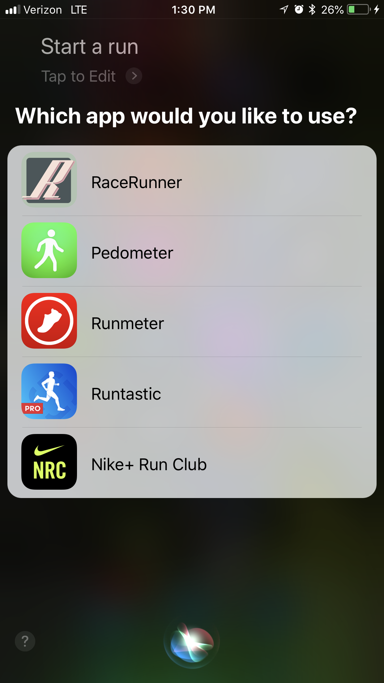 Generic Workout Initiated via Siri