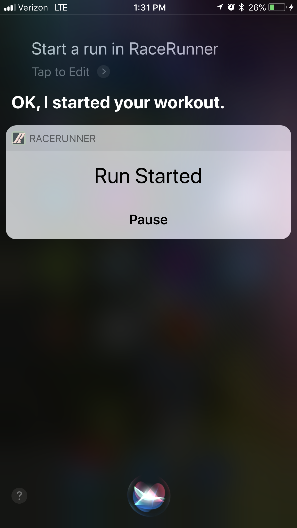 RaceRunner Workout Started with Siri